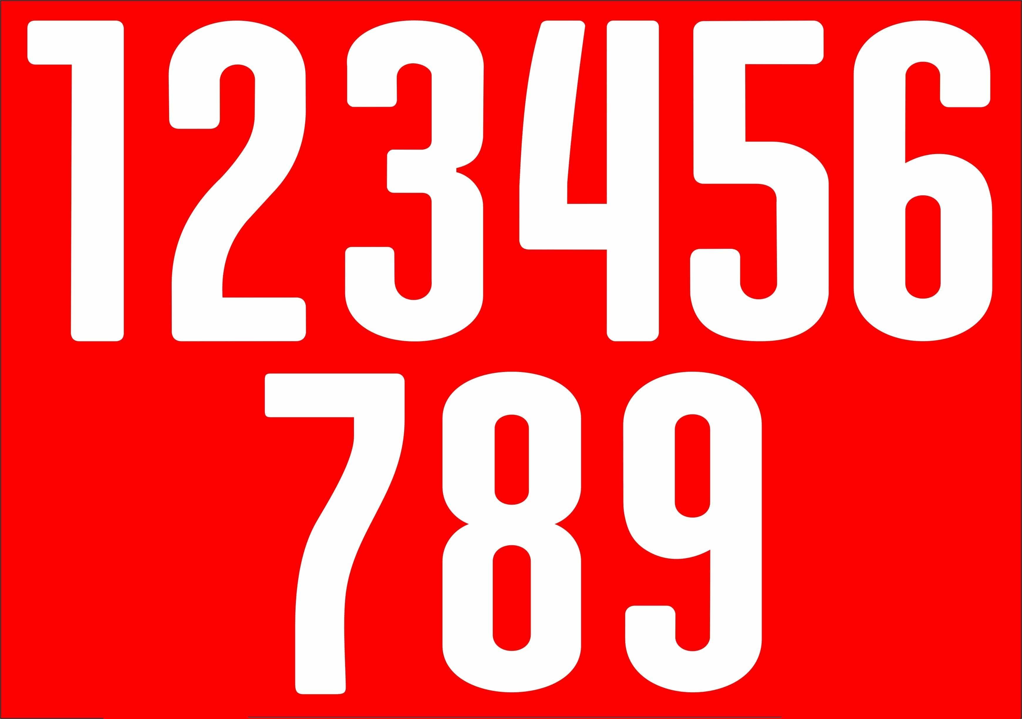 Rückennummer 1-9